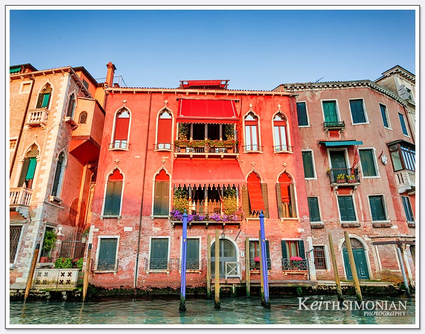 Red house along the main canal - Venice Italy