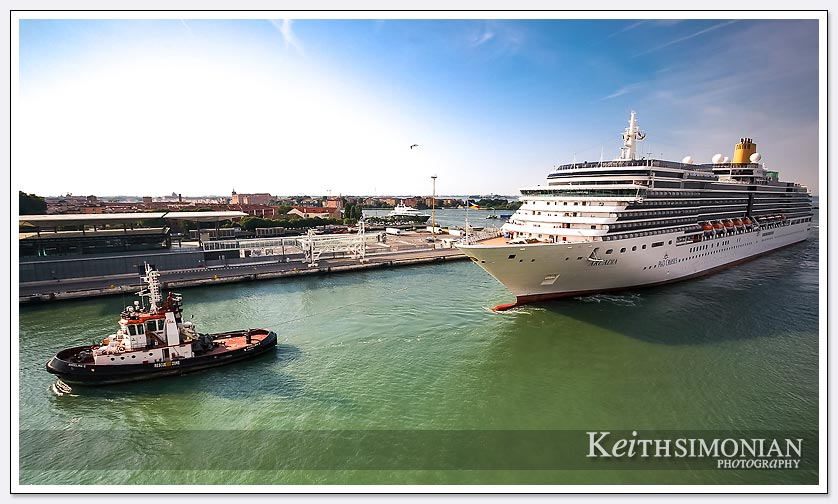 Another cruise ship arrives in port - Venice italy