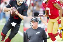 Composite photo of 49er head coach Chip Kelly, Colin Kaepernick, and Blaine Gabbert