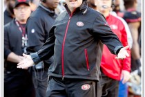 Jim Tomsula looks somewhat surprised by a call during the San Francisco 49ers game against the Arizona Cardinal on November 29, 2015 at Levi's Stadium in Santa Clara, CA.