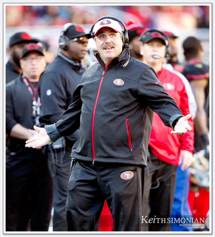 Jim Tomsula looks somewhat surprised by a call during the San Francisco 49ers game against the Arizona Cardinal on November 29, 2015 at Levi