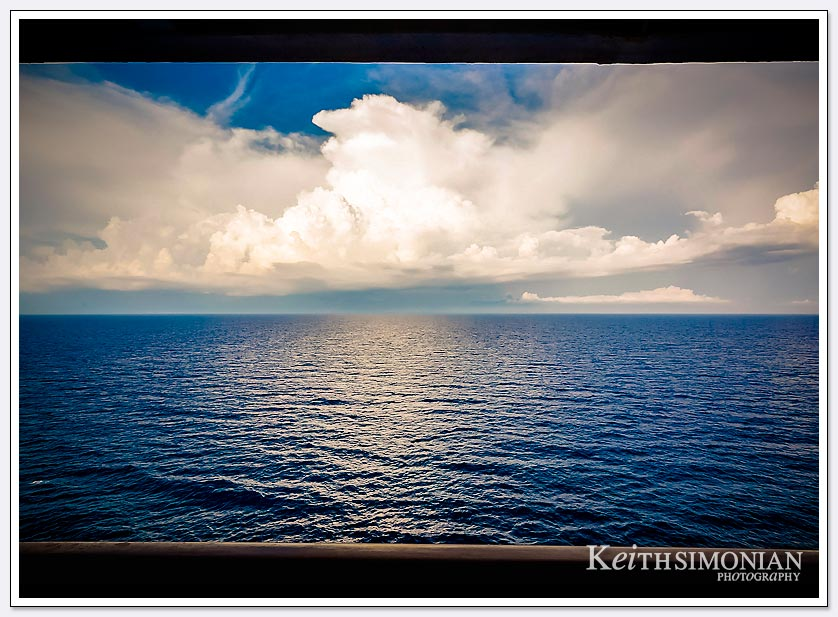 White clouds at sea viewed from Vista Suite on the Holland America ship MS Zuiderdam