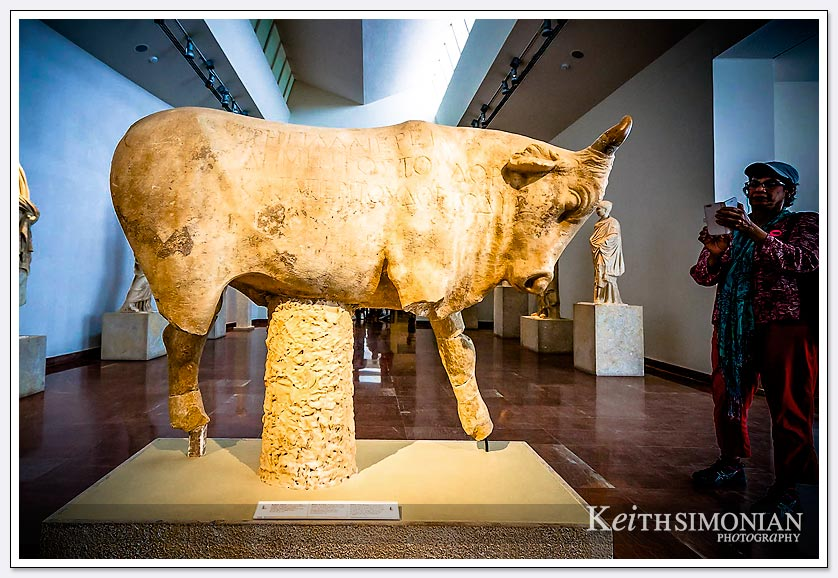 Statue of a bull in Olympia museum, Greece