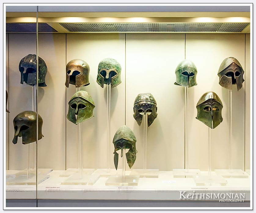 Helmuts in Olympia museum Greece