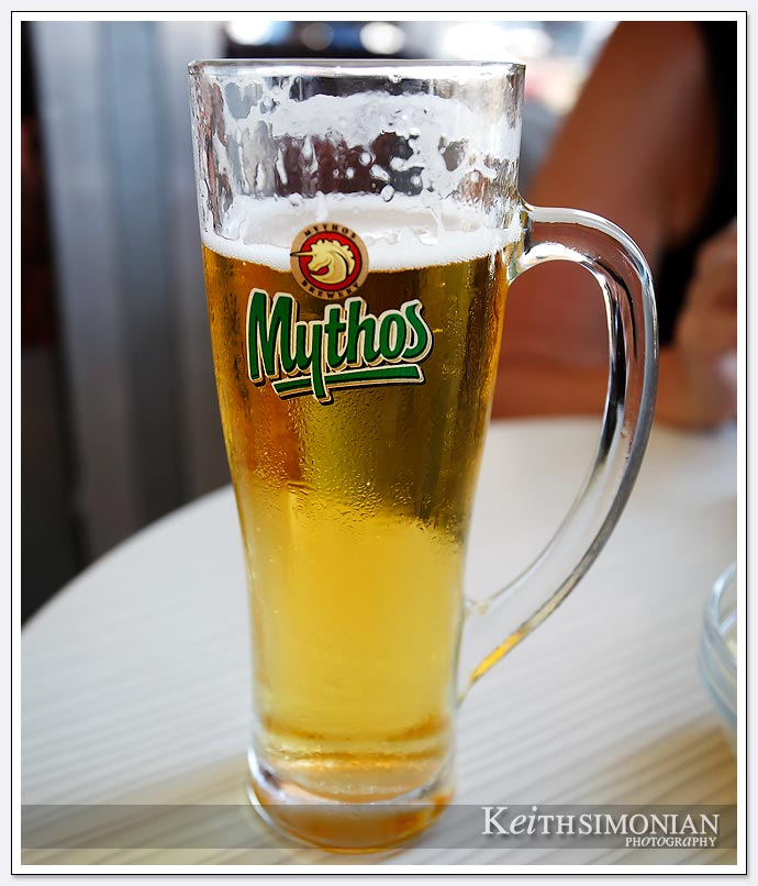 Frosty glass of Mythos beer - Greece