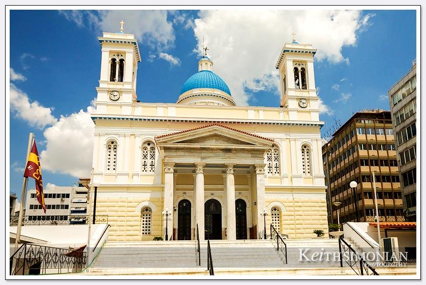 Exterior of the Agios Nikolaos church in Piraeus, Greece