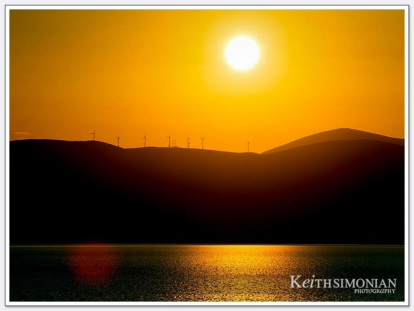Windmills at sunrise - Greece