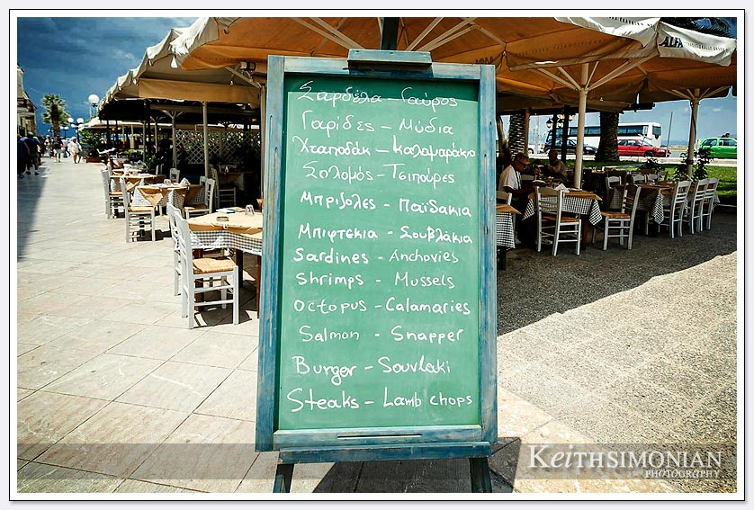 Menu choices for tourists in Nafplio Greece