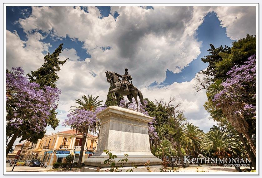 Nafplio, Greece - statue of Theodoros Kolokotronis in Kolokotronis Park