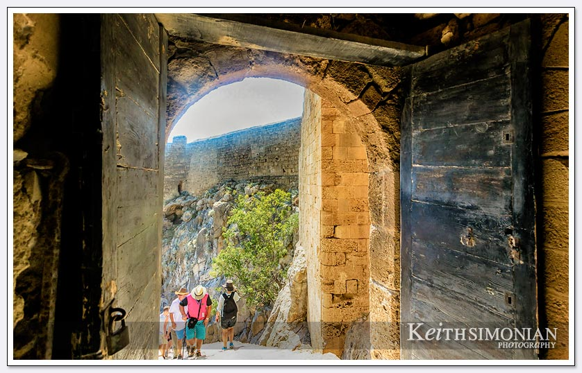 Inside the Medieval gate of the Acropolis of Lindos