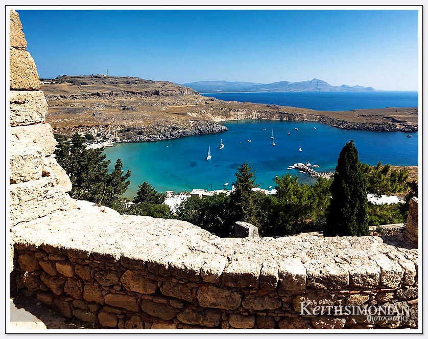 View of the bay from the Acropolis of Lindos, Greece