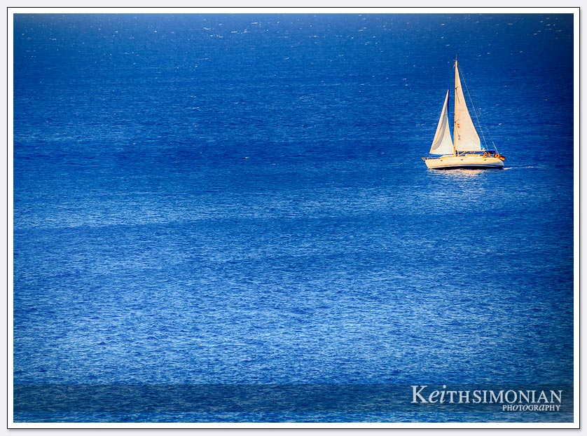 Sailboat and and about in the blue seas of Rhodes, Greece