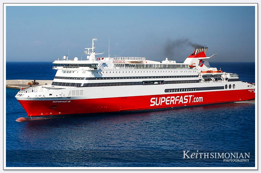 Superfast.com red ferry about to leave port - Rhodes, Greece