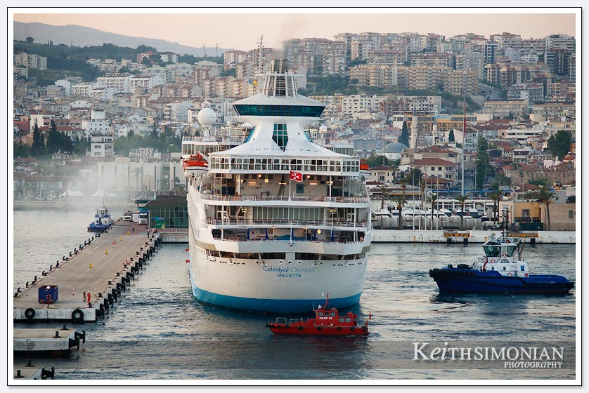 Cruise ship docking at cruise terminal in Kusadasi Turkey