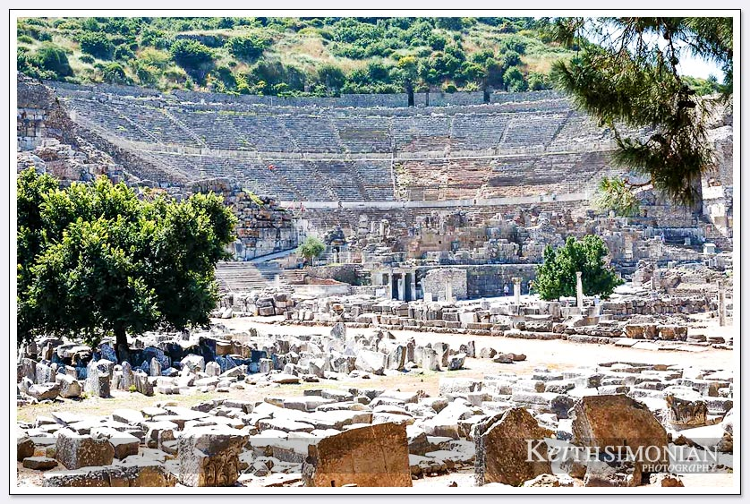 View of the amphitheater in Ephesus, Turkey