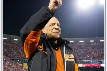 Willie Mays waves to the crowd at the last sporting event to take place in Candlestick Park on December 23, 2013 as the San Francisco 49ers played the Atlanta Falcons.