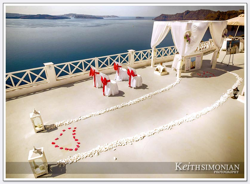 Wedding site on Santorini, Greece with view of Aegean Sea