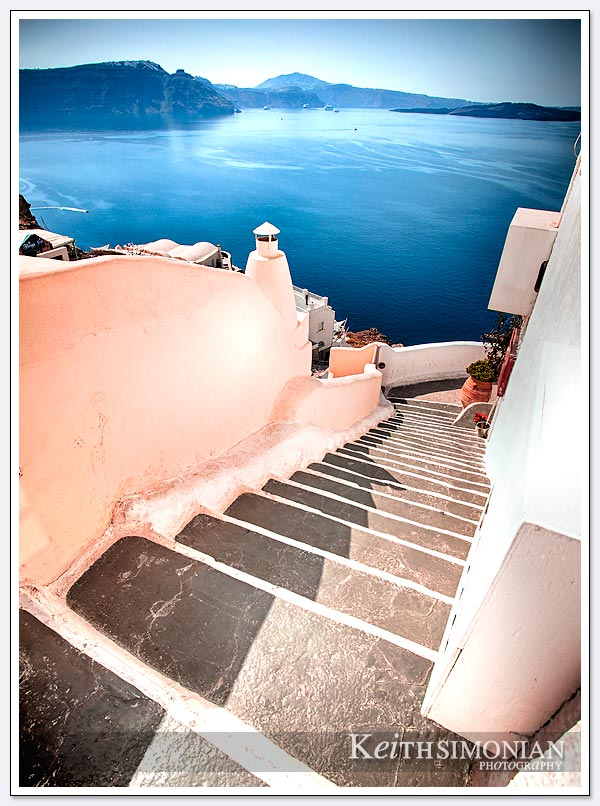 The steps appear to lead all the way down to the Aegean Sea