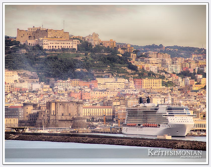 View of Naples Italy before docking