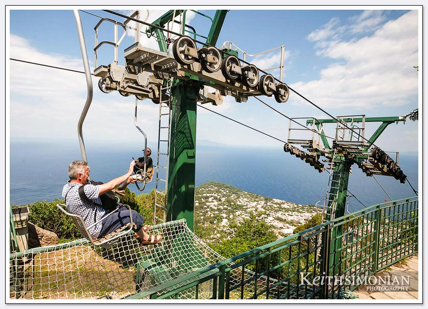 Top of tram that takes tourists to the top of Capri, Italy