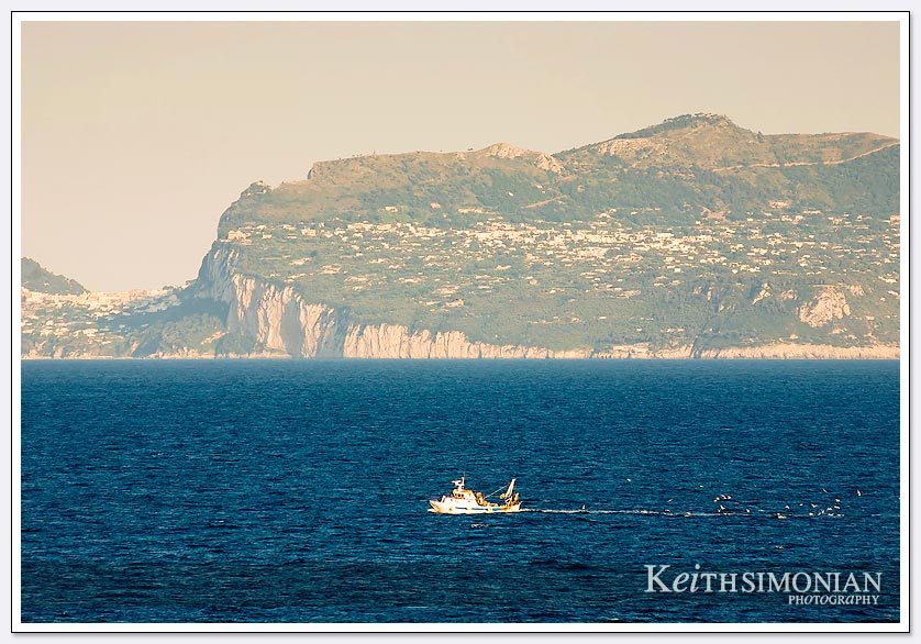 Fishing boat with seagulls trailing behind hoping for a free meal. - Capri, Italy