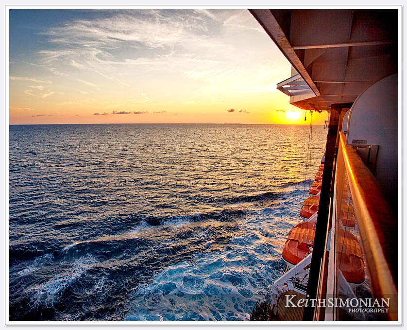 The last sunset of the cruise aboard the MS Zuiderdam