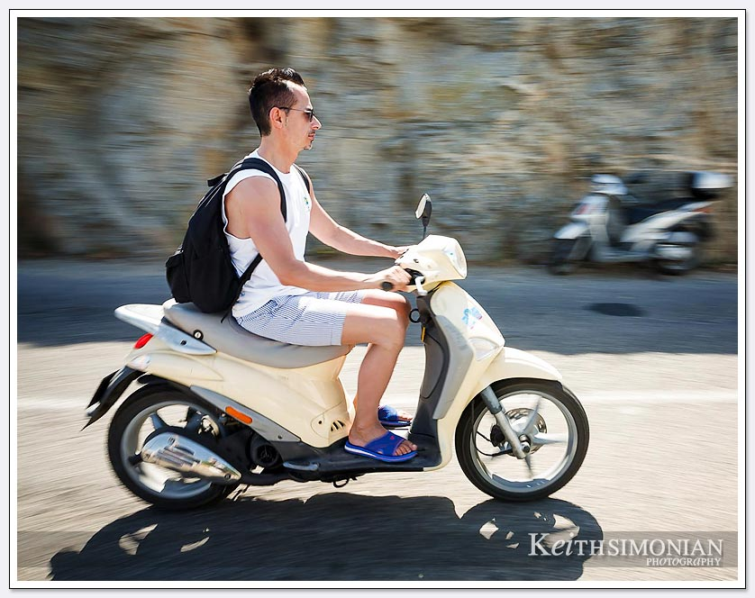 What could possible go wrong driving at 30 mph without a helmet or even shoes? Mykonos, Greece