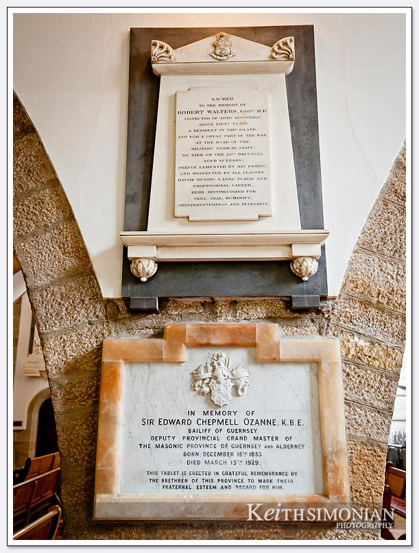 A plaque inside a church in Guernsey - St. Peter Port dedicated to the memory of Sir Edward Chepmell Ozanne.