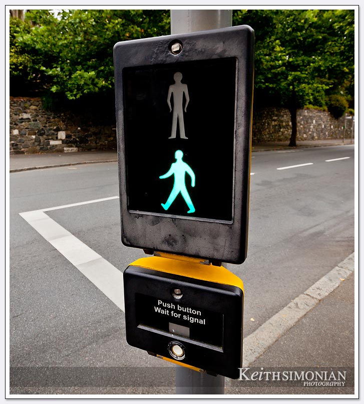 Walk and don't walk signs in Guernsey UK
