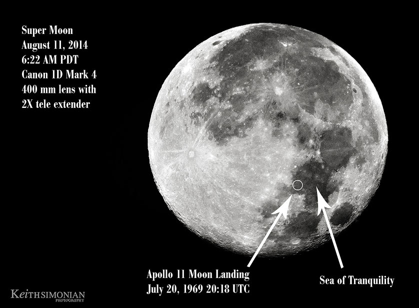 2014 Super Moon with landing site of Apollo 11 indicated.