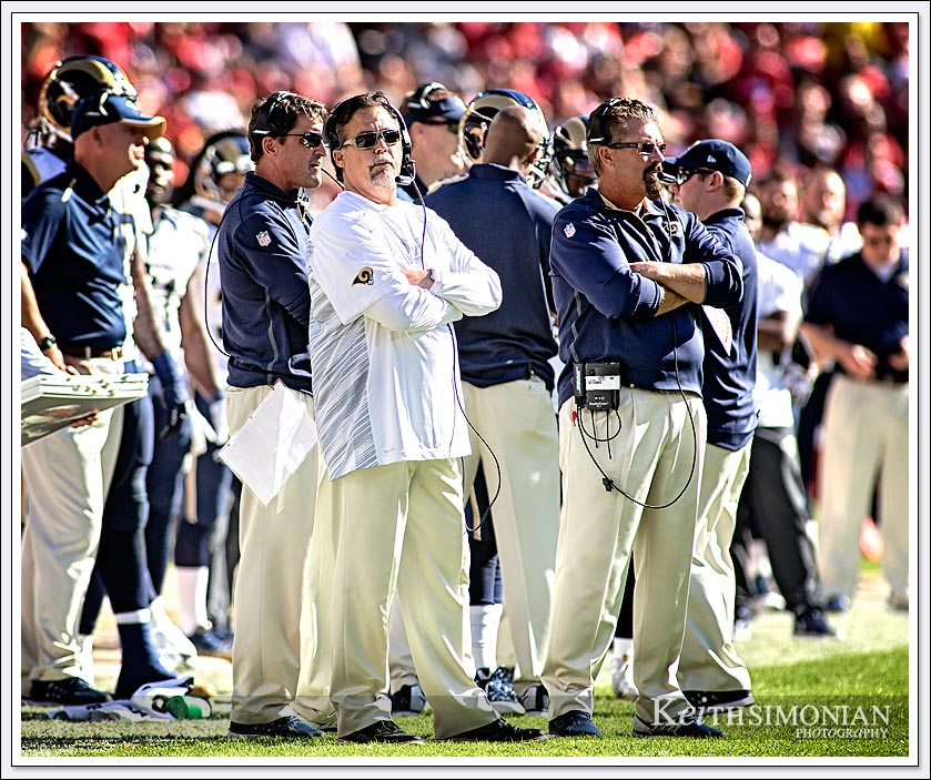 Rams head Jeff Fisher in white shirt and cool sunglasses during the 2014 meeting between the St. Louis Rams and San Francisco 49ers at Levi's Stadium