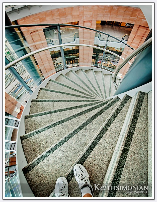 Staircase leading to viewing platform of shopping center in Belfast Ireland