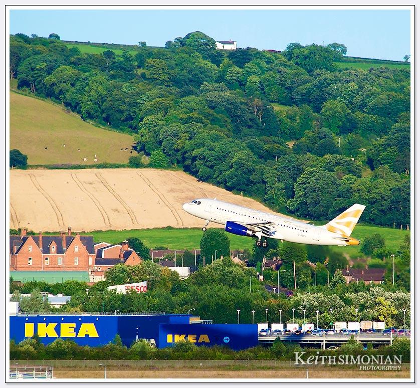 Jet taking off from Belfast Ireland airport