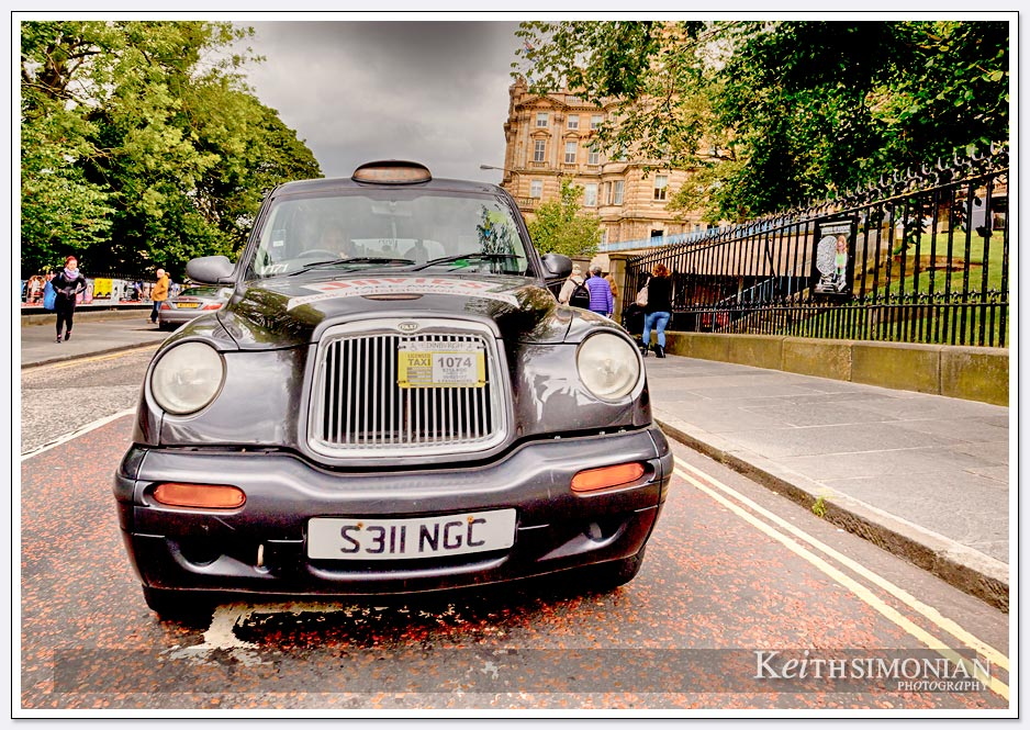 Taxi cab waiting for fare in Edinburgh Scotland