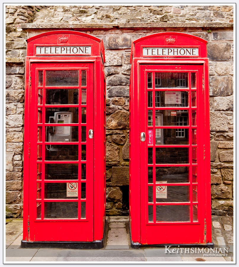 Iconic red telephone booths in Edinburgh Scotland
