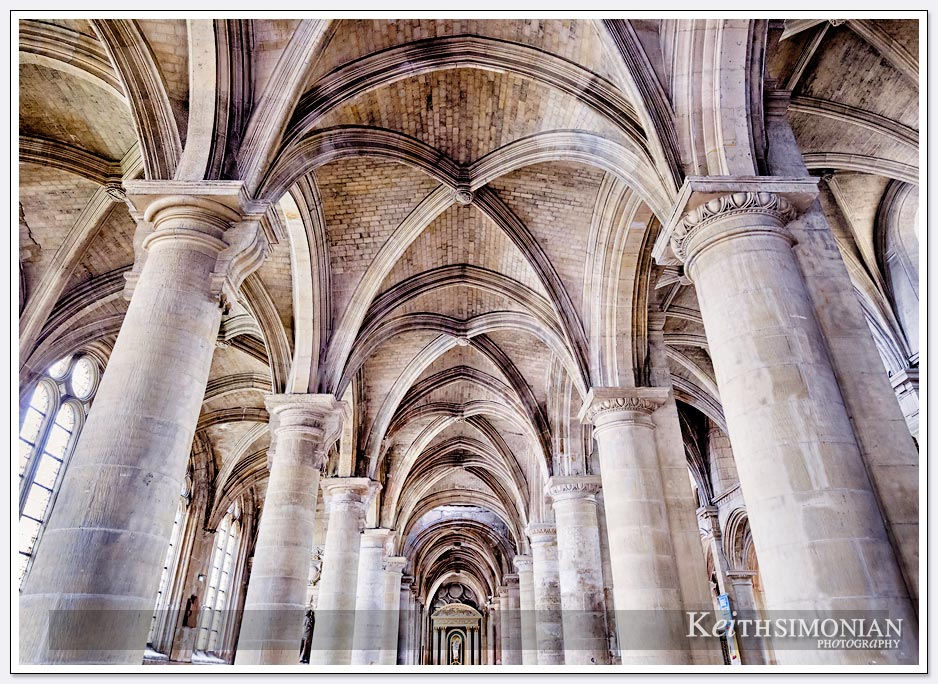 The arches of the Cathedral Notre Dame that survived the bombings during World War Two - Le Havre, France
