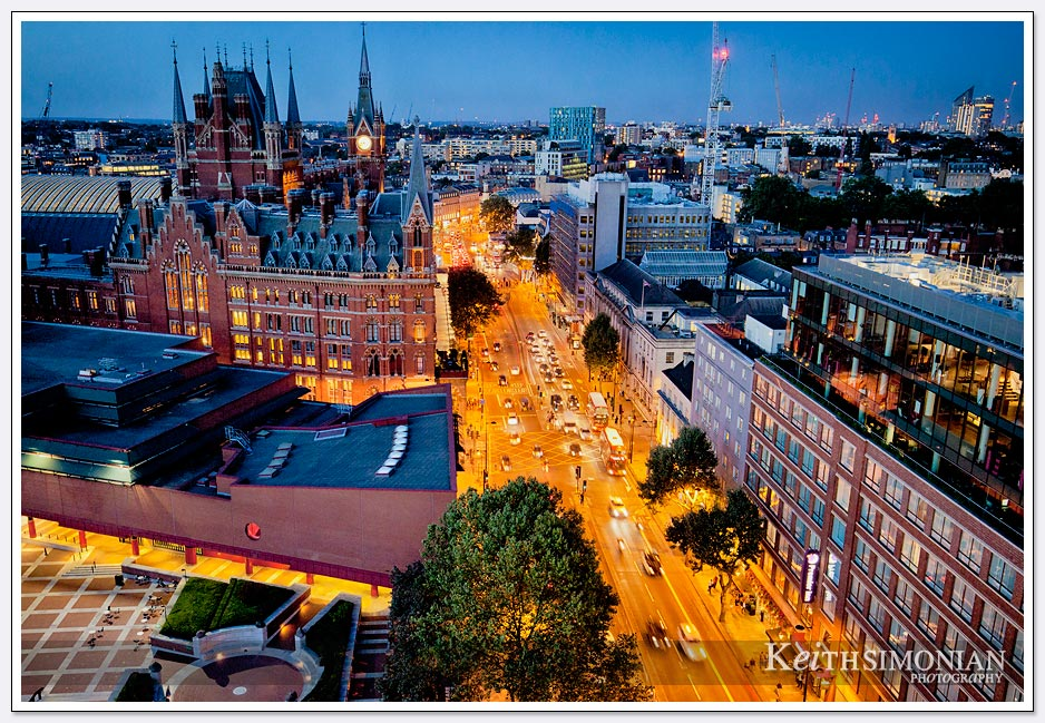 Night time view of London from the Pullman London St Pancras Hotel