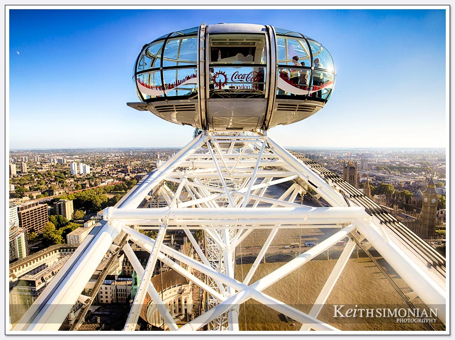 View from top of London Eye of another car also at the top
