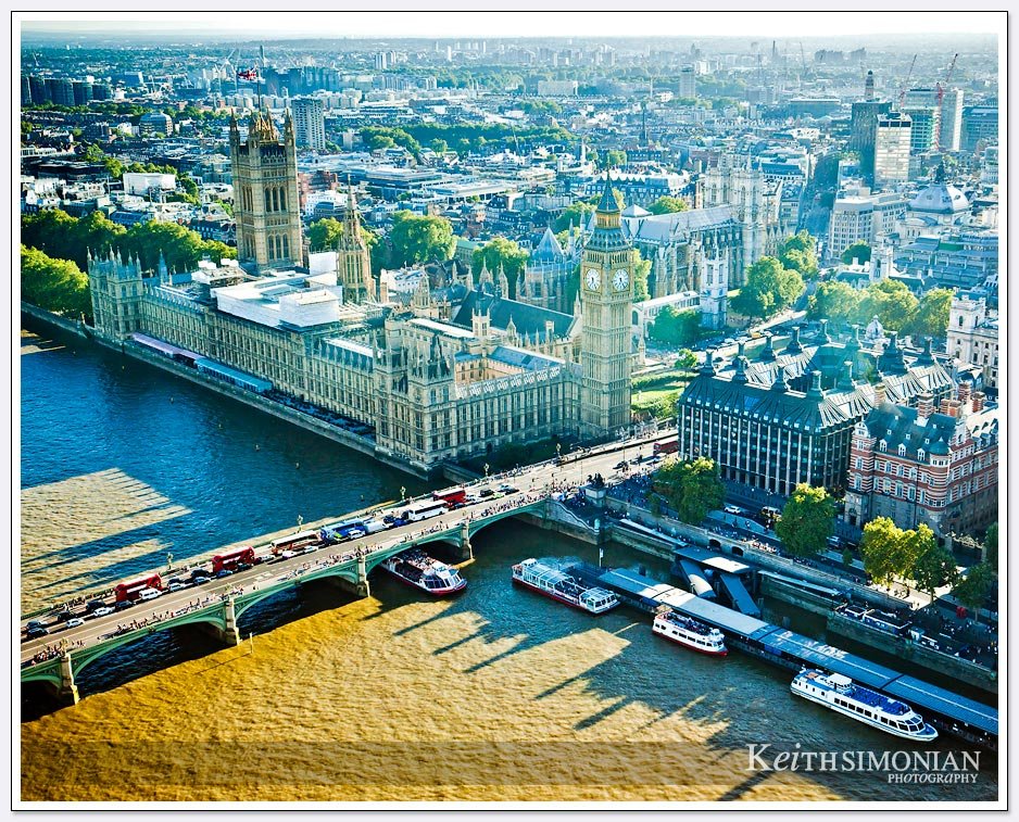 View from London Eye of Big Ben and Parliament building
