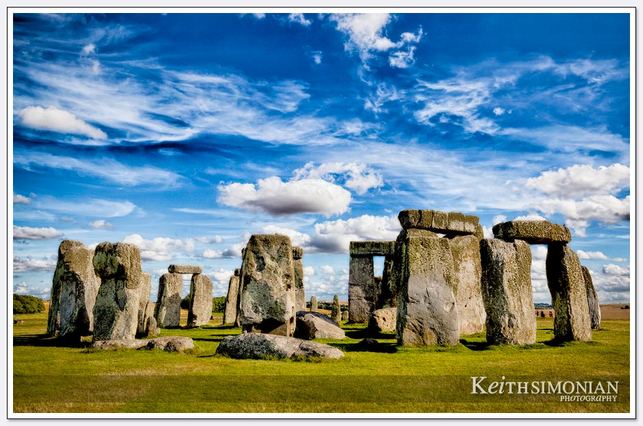 Wonderful blue sky and clouds above Stonehenge