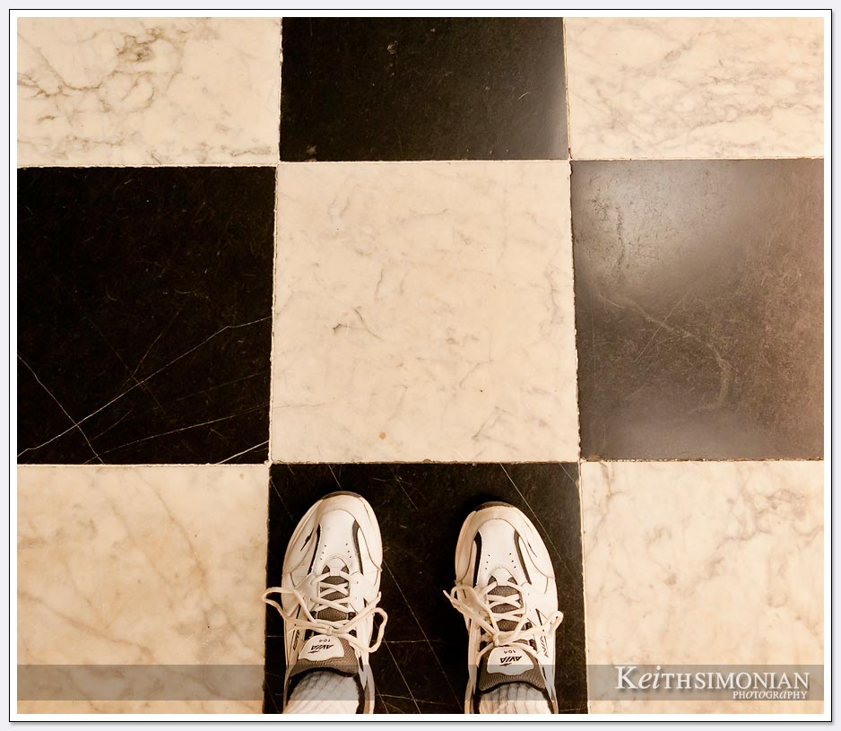 Black and white checkered floor in Kensington Palace - London, England