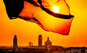 Golden sunrise over Venice Italy