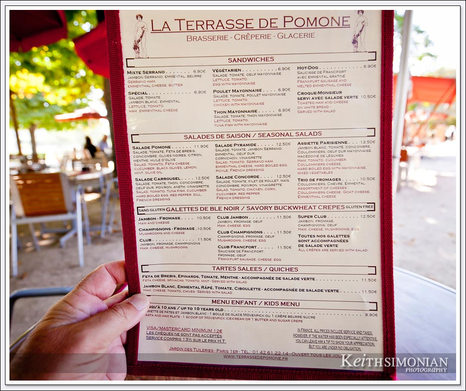Lunch Menu at La Terrasse de Pomone in Paris France