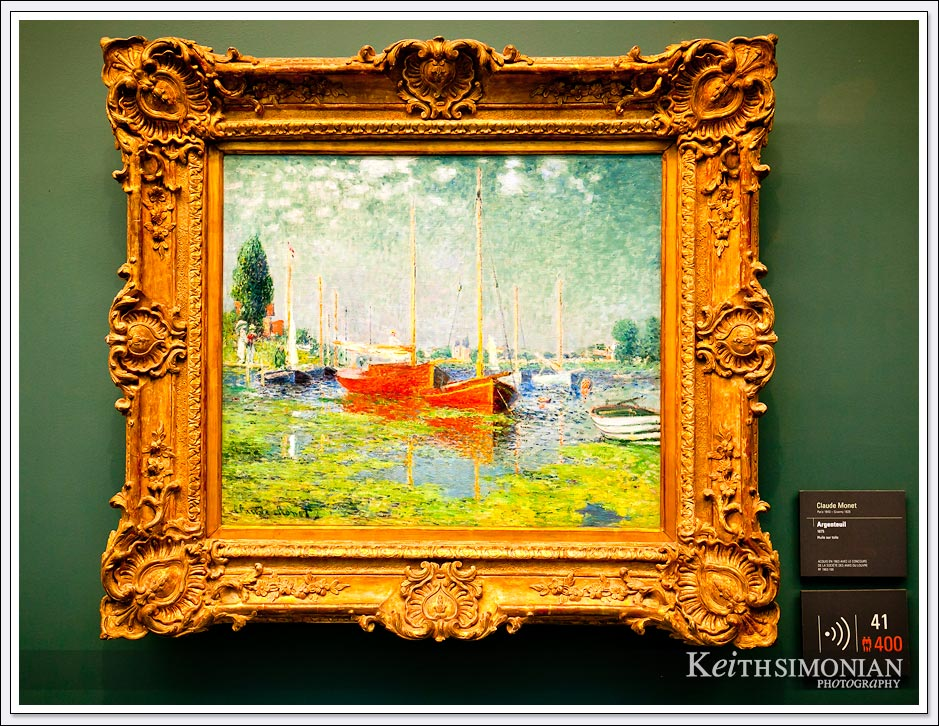 A painting by Monet inside the Orangerie Museum - Paris France