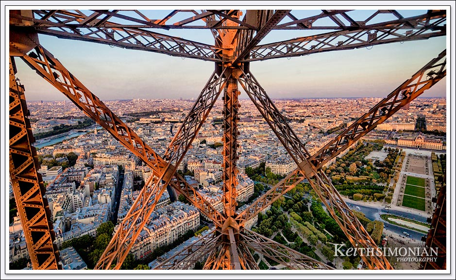 View from elevator the takes one to the top of the Eiffel Tower in Paris France