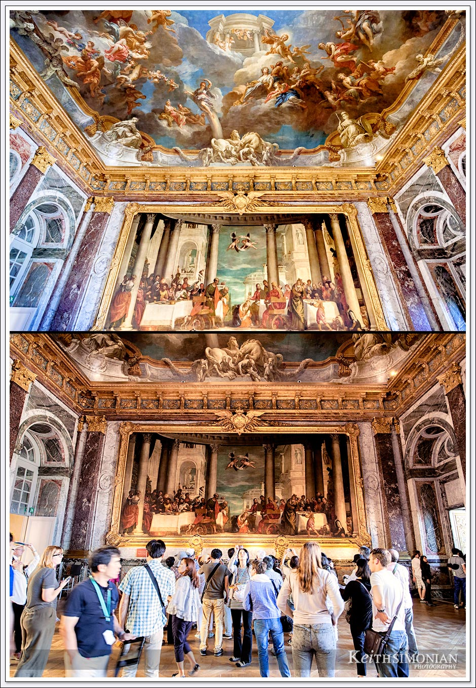 The palace of Versailles combo photo showing the same location with and without the tourists.