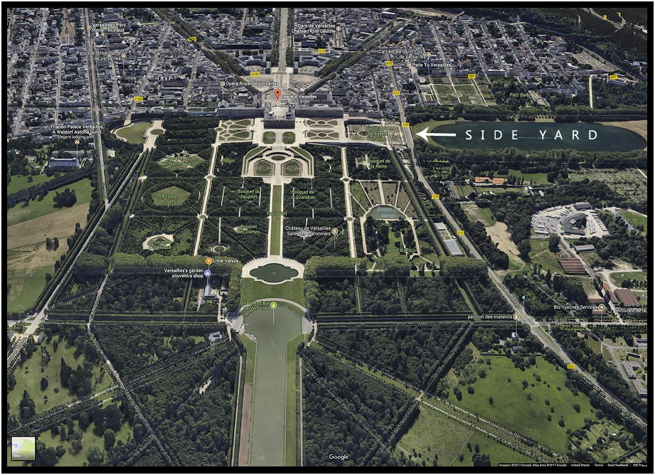 Google map showing the view from above the Gardens of the Palace of Versailles and the Side yard which is really called the Orangerie Parterre
