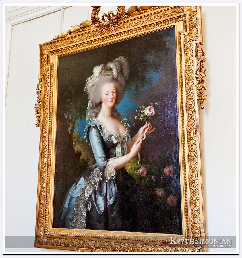 Painting of Marie Antoinette at the Marie Antoinette Estate in Versailles France