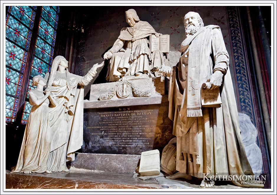 Notre Dame Cathedral - Paris France - Joannes Baptista de Belloy Monument