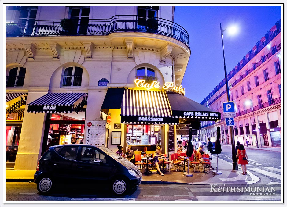 Night view of Cafe Palais Royal in Paris France